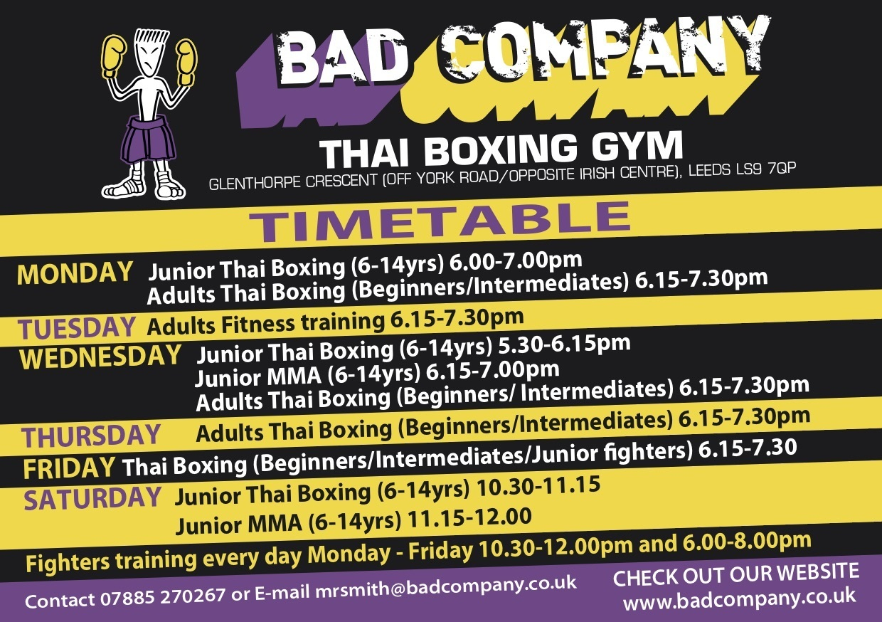 Bad Company Class Timetable